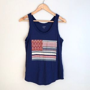 LOFT Navy Blue with Boho American Flag Tank Top XS